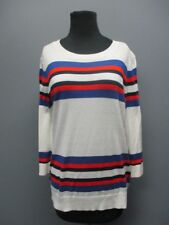 HALOGEN White Striped 3 / 4 Sleeves Crew Neck Casual Sweater NWT Sz L EE5066