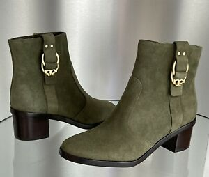 Tory Burch Marsden Olive Green Suede Bootie Boots Women Size 8 NEW