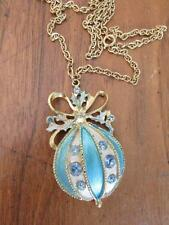 Vintage Egg pendant necklace blue enamel with clear rhinestones