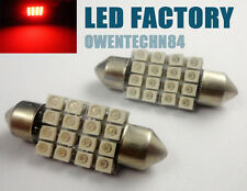 2X 36MM 16 SMD Car Interior Festoon Dome 1210 LED Vehicle Light Red  #ZC1