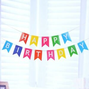 Happy Birthday Bunting Banner Pastel Party Decoration Garland UK Hanging Letters