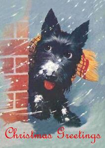 SCOTTISH TERRIER IN SNOW SCOTTIE DOG SINGLE DOG PRINT GREETING CHRISTMAS CARD