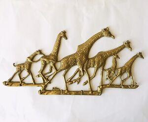 "Solid Brass Wall Mounted Running Giraffe Herd Key Holder 6 Hooks 15"""