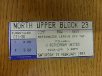 15/02/1997 Ticket: Millwall v Rotherham United  . Thanks for viewing our item, i
