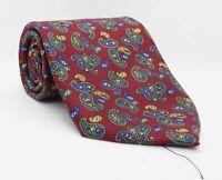 Seidenweber Krawatte Rot Paisleys 100%Seide 141cm x 9cm -353