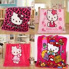 Hello Kitty Cartoon Smooth Flannel Blankets Baby Mats Kids Throws Free Shipping