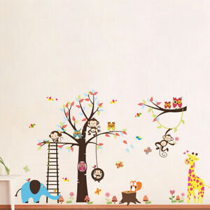 ANIMAL JUNGLE ZOO ELEPHANT MONKEY GIRAFFE WALL STICKER BABY KIDS ROOM CHILDREN