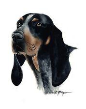 Bluetick Coonhound Dog Watercolor 8 x 10 Art Print by Artist Dj Rogers w/Coa