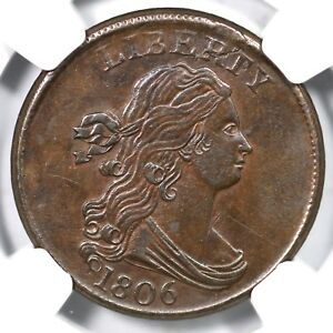 1806 C-1 NGC UNC Details Small 6, Stemless Draped Bust Half Cent Coin 1/2c