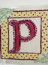 HAND CARVED TILE Celtic Letter P on porcelain NC potter Helen Seebold