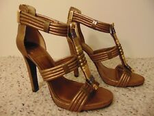 NWT Tory Burch Carla Beaded Metallic Suede Sandals Pumps Women's size 9M $495