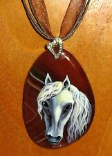UNIQUE BEAUTIFUL Hand Painted WHITE HORSE on Natural brown STONE Pendant signed
