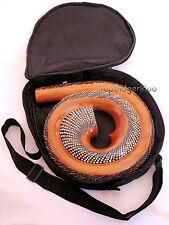 Spiral DIDGERIDOO+BAG Travel Compact swirl snail shell Mahogany Wood Hand Carved