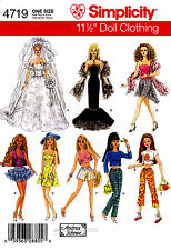 """Simplicity Pattern 4719 11 1/2"""" Fashion Doll Clothes Wedding dress pants Top"""