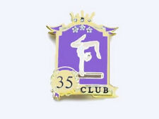 Club 35 Gymnastics Achievement Award Lapel Pin - 3 Crystals In Stars