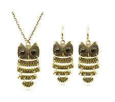 Vintage Gold and Black Owls Jewellery Set Drop Dangle Earrings & Necklace S398