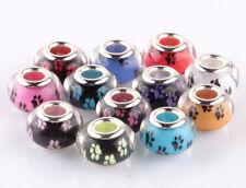 100pcs Mix Feet SILVER MURANO bead LAMPWORK fit European Charm Bracelet AB909