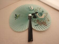 Vintage Hand Painted, Folding Fan, Beautiful Aqua Color, Detail Design