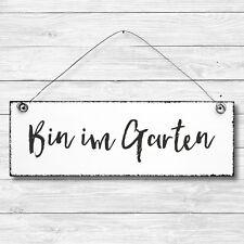 """lange haltbar /""""Bin im Garten/"""" Gartenschild aus hochwertigem Emaille mit Kordel"""