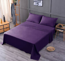 Luxury Bamboo Sheet Set Soft Hypoallergenic Purple King Deep Pocket 4 Pc Set