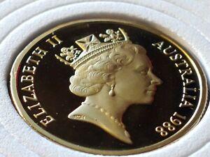 GEM PR+ CAMEO TYPE Low Mint PROOF 1988 Australia Kangaroo Dollar,  w Holder.