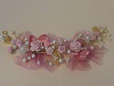 Flor de polvo en Rosa Salmón Rosa Cabello Vid Perlas De Marfil Nupcial Boda Novia