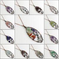 Natural Amethyst Peridot Lapis Chip Beads Tree of Life Olivary Pendant Necklace