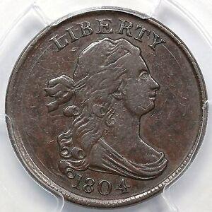 1804 C-11 R-2- PCGS XF 40 Plain 4, Stems Draped Bust Half Cent Coin 1/2c
