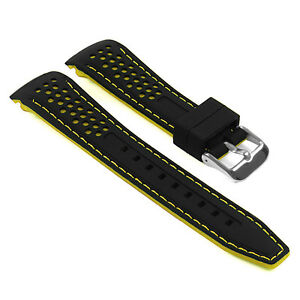 StrapsCo Rubber Perforated Rally Racing Watch Band Silicone Strap w/ Curved Ends
