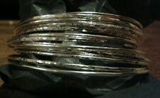 2 x Beautiful Handmade Solid 1.5mm 925 Sterling Silver Hammered Bangle-Bracelet