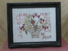 """Completed Cross Stitch Sampler Be Mine 10"""" X 12"""""""