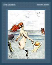 MERMAID WITH CHILD semi-nude siren vtg La Vie Parisienne 8x10 Gerbault Art print