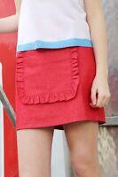 THE WHITEPEPPER Denim Ruffle Panel Mini Skirt Red Hipster- L Large #20D249