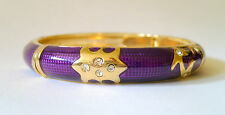 ROUND ENAMEL BANGLE WITH SPRING CLASP OPENING - PURPLE SPARKLE IN GIFT BOX