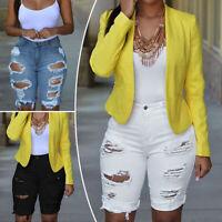 Plus Size Womens Ladies Stretch Ripped Hole Skinny High Waist Denim Pants Jeans