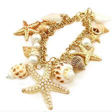 Fashion Luxury Chunky Sea Shell Starfish Pearl Bib Gold Statement Multi Bracelet