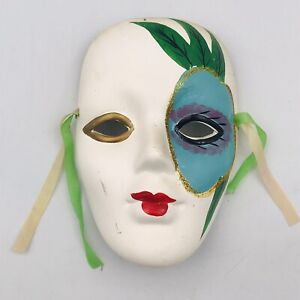 "Mardi Gras Style Clay Mask Green Leaf Pattern Face 5 3/4"" x 4"" Ribbons"