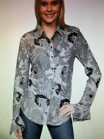 SNO SKINS Sz L Gray Black Floral Eyelash Textured Knit Button SHIRT TOP LS $129