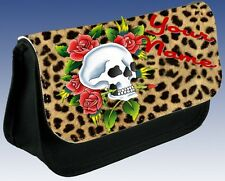 Leopard Print Skull Personalised Pencil Case Make Up Bag Great Gift Idea!