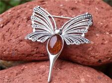 SILVERANDSOUL BUTTERFLY BROOCH/PIN BALTIC AMBER 925 SILVER HANDCRAFTED JEWELLERY