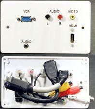 Plaque murale av, hdmi / vga / Jack 3.5 mm / 3 Phono Audio Vidéo sockets avec queues