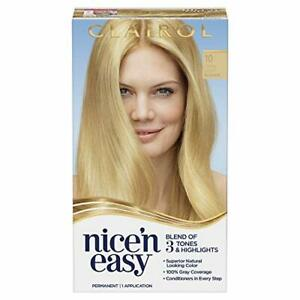 Clairol Nice 'N Easy Permanent Hair Color, 10 Extra Light Blonde (Packaging M...
