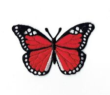 Iron On Embroidered Applique Patch Red and Black Monarch Butterfly