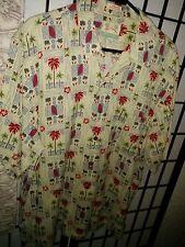 Reyn Spooner © Men's 100% Silk Camp shirt - yellow & red geometric - Medium NWOT