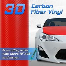 """Red 3D Premium Grade Carbon Fiber Vinyl Sheet Film - 48""""x60"""" 4x5 ft"""