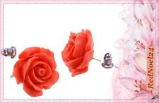 LOVELY ROUND CORAL ROSE FLOWER STUDS SOFT RED 925 SILVER PLATED EARRINGS