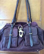 Francesco Biasia Beautiful Burgundy Nubuck Leather XL Satchel Shoulder Bag Italy