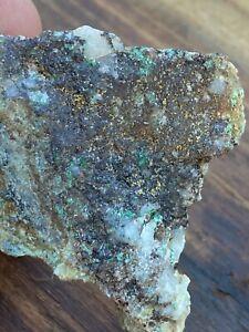 Gold, Silver, Copper, Iron, and pyrite in Quartz. Raw Ore Specimen