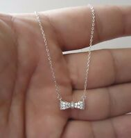 BOW NECKLACE  PENDANT W/ .75 CT LAB DIAMONDS /925 STERLING SILVER/ 18 INCH