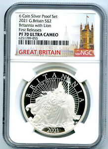 2021 GREAT BRITAIN 1OZ SILVER PROOF NGC PF70 BRITANNIA WITH LION FIRST RELEASES